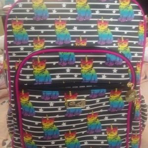 Unicorn cat rainbow backpack.